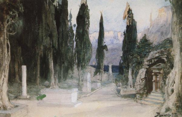 cemetery-among-the-cypress-1897 Vasily Polenov