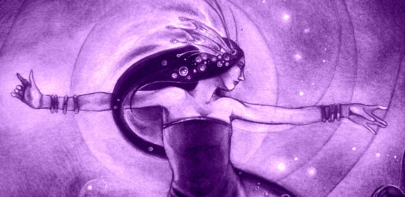 queen of cups detail purple tint